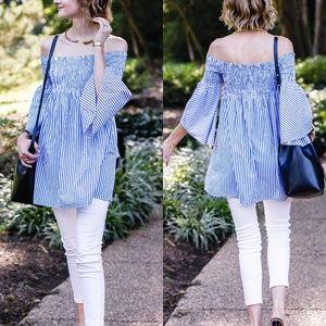 Zara Pinstriped Off Shoulders Smock Tunic Dress